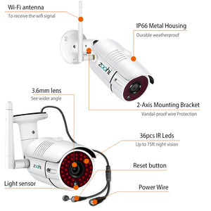 Zoohi Wireless Surveillance System Kit 1080P 2MP HD WIFI Camera Home Security Camera System Night Vision Video Surveillance Kit - Smoulder Products