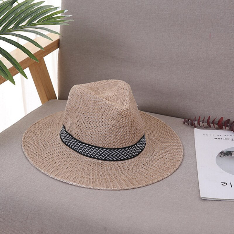 Panama Hat Straw Fedora Male Sunhat Chapeau Cool Jazz Trilby Cap Sombrero - Smoulder Products