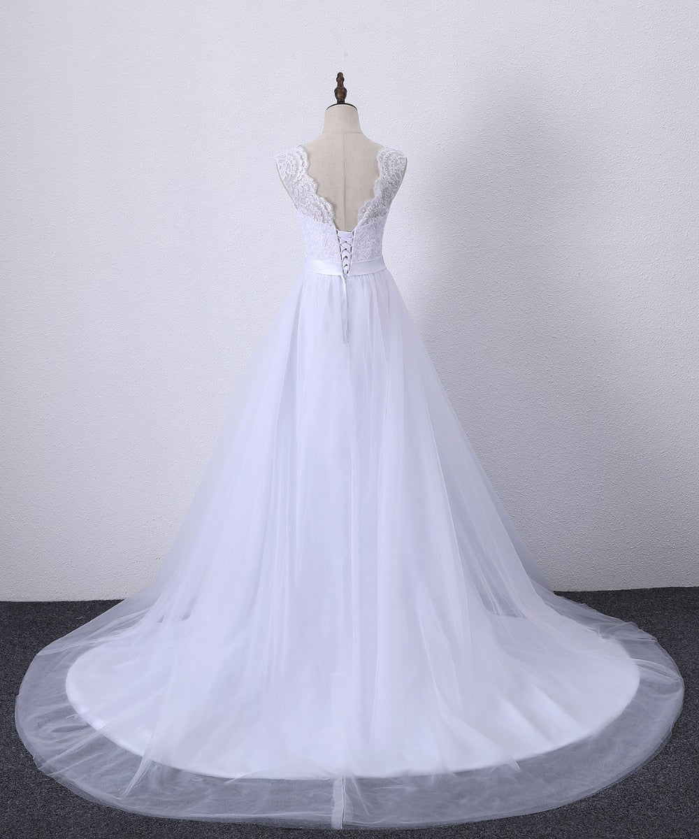 Solovedress A Line Lace Beach Wedding Dress 2019 Scoop Neck White Bridal Gown Tulle Skirt Chapel Train vestido de noiva SLD-228 - Smoulder Products
