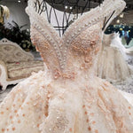 New Luxurious Lace Appliques Beaded Crystals V Neck Puffy Wedding Gown Champange Wedding Dress Wave Skirt 3D Flower Bridal Dress - Smoulder Products