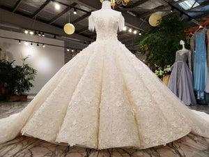 AOLANES Luxurious Waves Arabic 2018 Ball Gown Lace Up Back Beading Crystals Wedding Dresses with Long Real Photos Bridal Dress - Smoulder Products