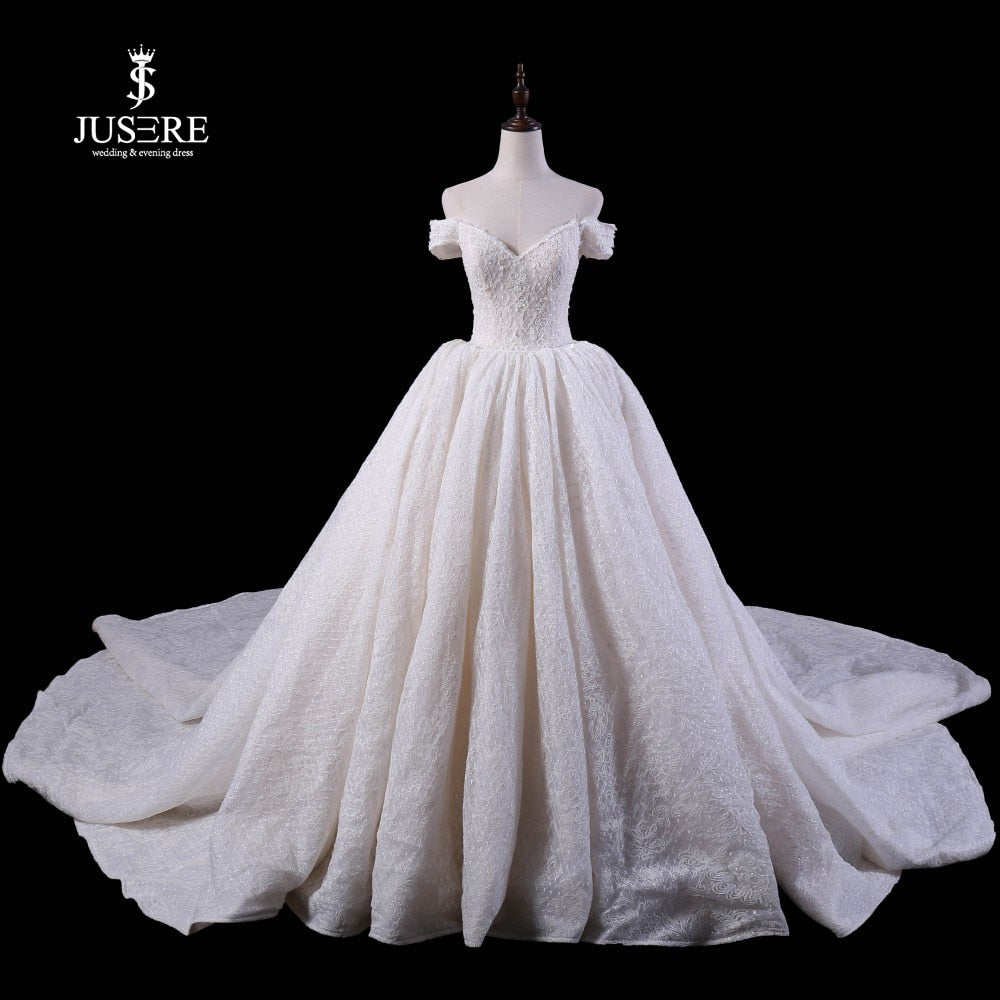 Jusere Real Photos 2019 Shiny Sequins Ball Gown Wedding Dresses Royal Train High End Off Shoulder Bridal Gown vestido de noiva - Smoulder Products