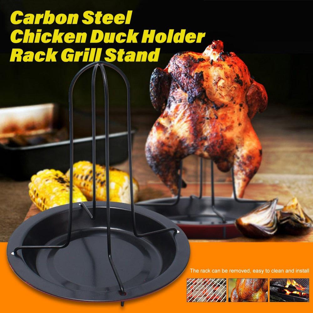 Chicken Duck Holder BBQ Roaster Rack Kitchen Barbeque Grill Stand Carbon Steel Tray Plate Camping Bakeware Turkey Fork Shelf Z30 - Smoulder Products