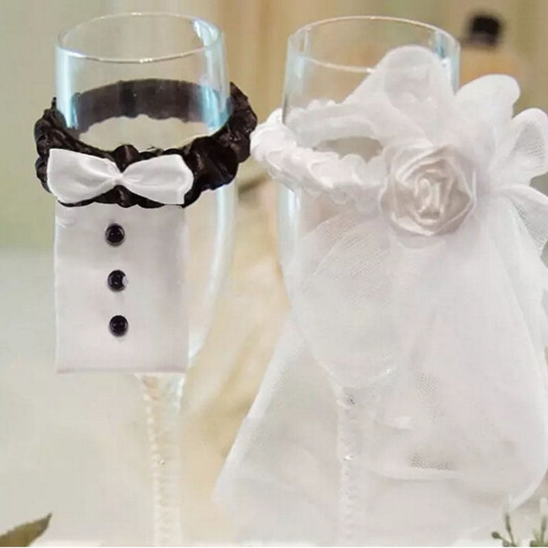 2 PCS Cup Decor Bride Groom Tux Bridal Veil Wedding Party Holiday Toasting Wine Glasses Cup Decor Supplies Accessories Gadgets - Smoulder Products