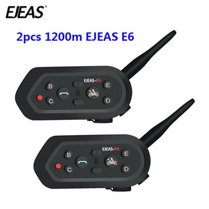 2 pcs EJEAS E6 Multifunctio Motorcycle Intercom VOX BT Headset Helmet Interphone Bluetooth Intercom for 6 Riders 1200M Communica - Smoulder Products