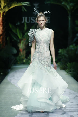 JUSERE SS FASHION SHOW High end Round Neck Wedding Dress Unique Lace Pattern Mermaid Bridal Gowns Robe De Mariage - Smoulder Products
