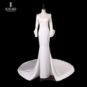 Robe de mariage JUSERE New Listing Mermaid Wedding Dress 2019 Scoop Neck Long Sleeve Court Train Bridal Gowns vestido de noiva - Smoulder Products