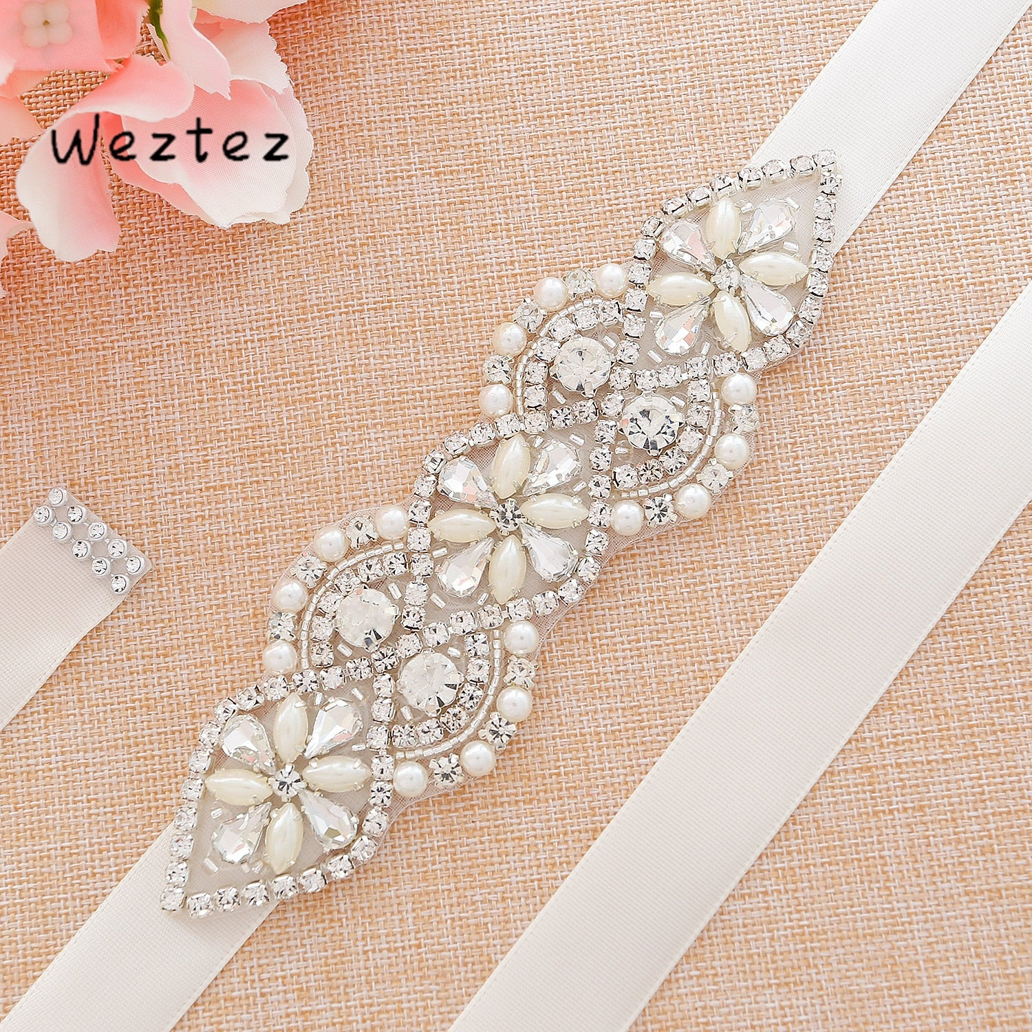 Silver Crystal Wedding Belt Rhinestones Bridal Belt Pearls Wedding Sash For Bridal Bridesmaid Dresses SD112S - Smoulder Products
