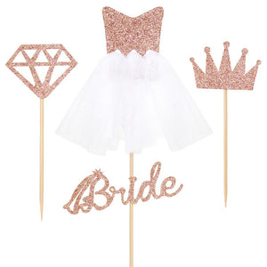 4/12pcs Rose Gold Glitter Bride To Be Cupcake Toppers Diamond Crown 3D Wedding Dress Cake Toppers for Bridal Shower Supplies - Smoulder Products