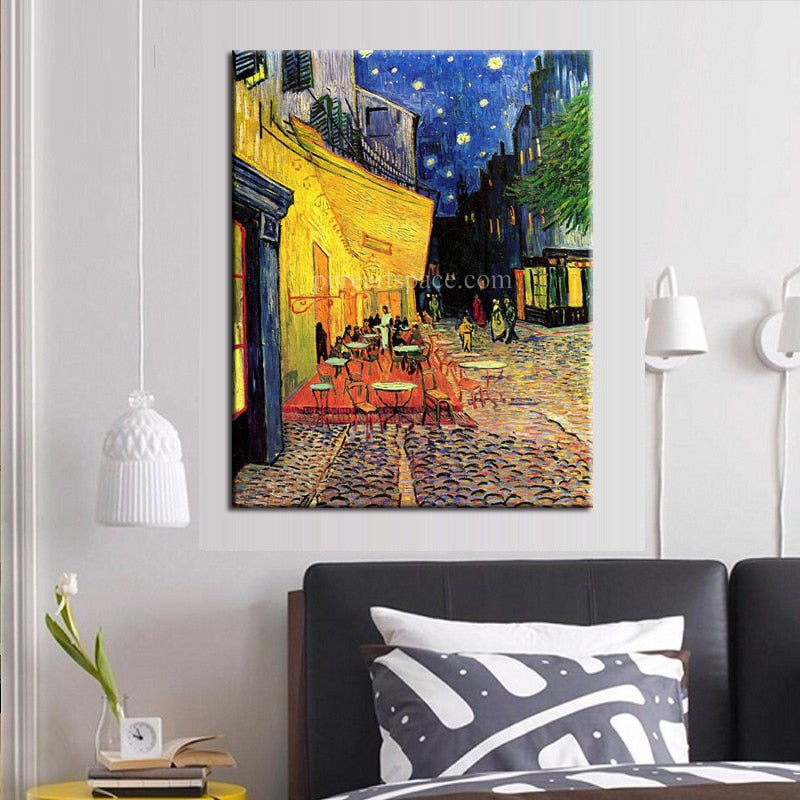Cafe Terrace at Night Vincent Van Gogh Art Reproduction 100% Canvas Hand Painted Oil Painting for Home Living Room Office Decor - Smoulder Products