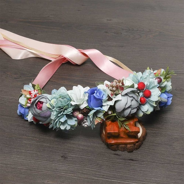 MOLANS Bohemian Floral Bridal Sash Natural Berries Wedding Belts Elegant Fabric Waist Band Woodland Photo Shoot Dress Gown Belt - Smoulder Products