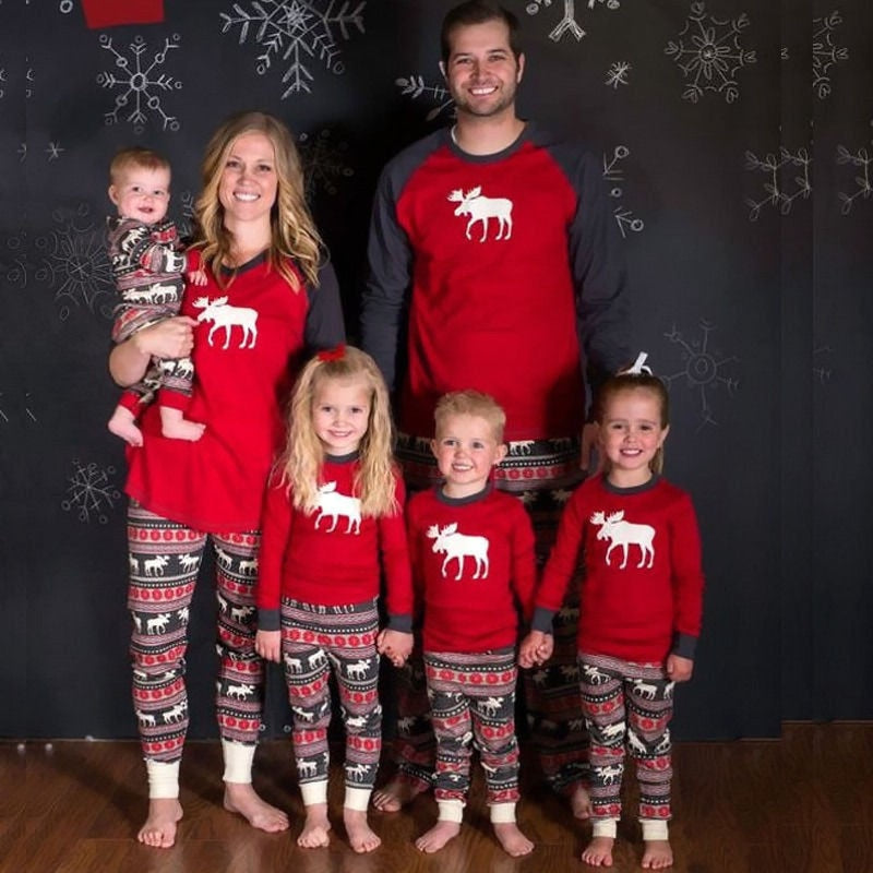 Xmas Moose Fairy Christmas Family Matching Pajamas Set Adult Kids Sleepwear Nightwear Pjs Photgraphy Prop Party Clothing - Smoulder Products