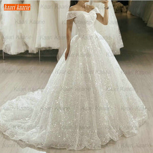 Glitter Boho White Wedding Dresses Long 2020 Bling Bling Sequin Sweep Train Bride Gowns Princess Church Bridal Dress Custom Made - Smoulder Products