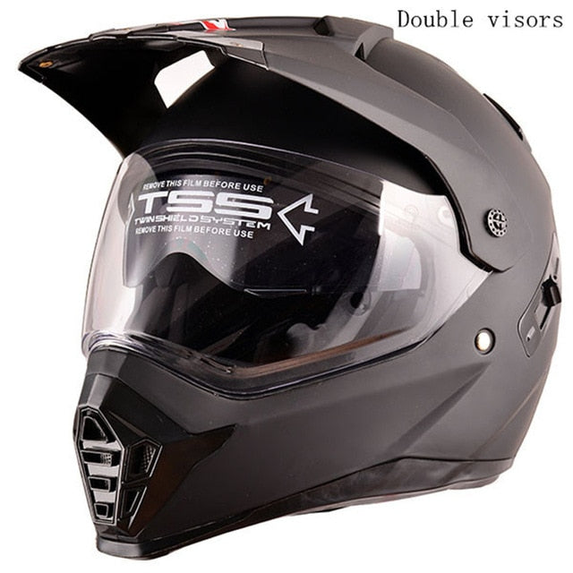 motorcycle helmet with sun shield atv road cross motocross helmet double lens off road racing moto helmets - Smoulder Products