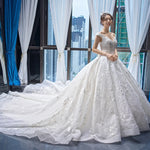J66682 jancember luxury wedding dresses v-neck ball gown lace like white elegant bridal dress new design 2019 vestido de noiva - Smoulder Products