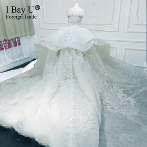 100% Actual Photo Luxury Wedding Dress 2020 3D Lace Flower Ball Gown Shiny Stone Bridal Gown - Smoulder Products