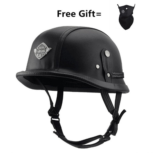 Unisex Retro half Motorcycle Helmets Matte Black German Half Face Helmet Chopper Cruiser Biker M/L/XL casque moto - Smoulder Products