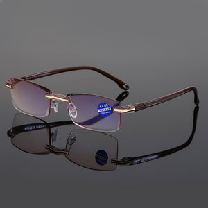 Ultralight Rimless Reading Glasses Women Men Transparent Blue Light Blocking Frameless Computer Glasses Presbyopia Reader 1.5 2. - Smoulder Products
