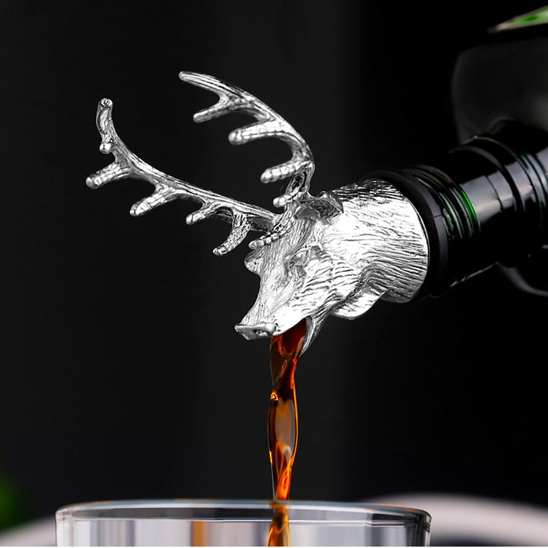 1Pcs Jagermeister Wine Pourer Zinc Alloy Deer Elk Lion Bull Head Wine Stopper Drinks Bar Tools Night Club Bar Accessories - Smoulder Products