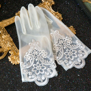 Glamour Bride Dress Gloves Lace Short Paragraph Mittens Wedding Dresses Accessories Charming Lady Women Glove with Fingers - Smoulder Products
