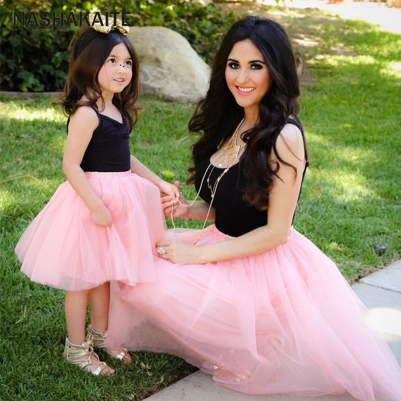 Mom and Daughter Dress Pink Patchwork Mesh Princess Dress Mother and daughter clothes Family Look Mother daughter dresses - Smoulder Products