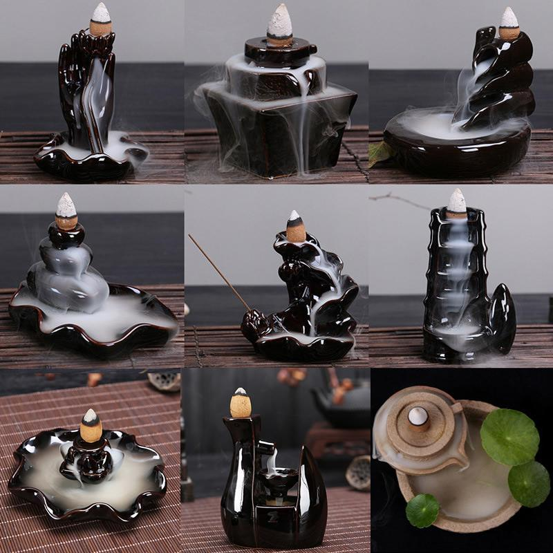Backflow Incense Burner Waterfall Incense Cone Sticks Holder Home Decor Porcelain  Buddha Hand Reflux Censer Ceramic Aroma Stove - Smoulder Products