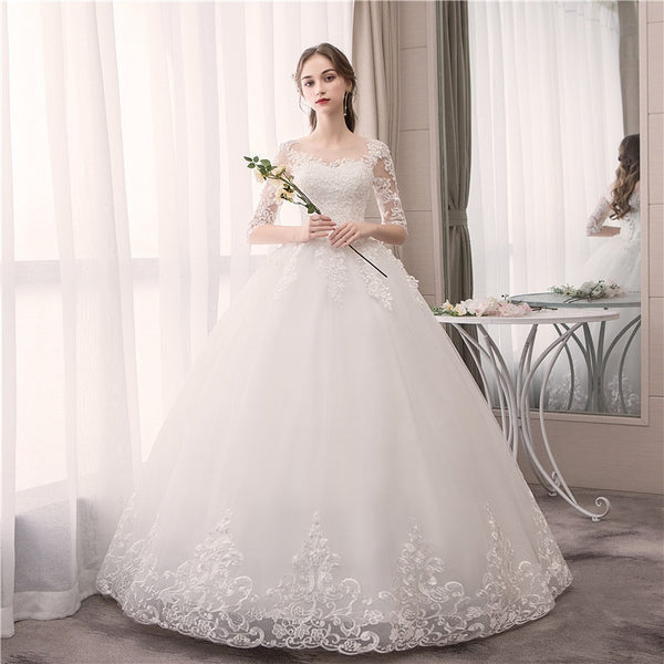Wedding Dress,  O Neck Half Sleeve Lace Embroidery, Lace Up