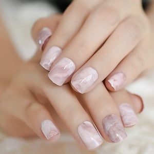 Pink Nude White French Fake Nails Squoval Square UV Gel False Press on Nails for Girl Full Cover Wear Finger Nail Art Tips - Smoulder Products