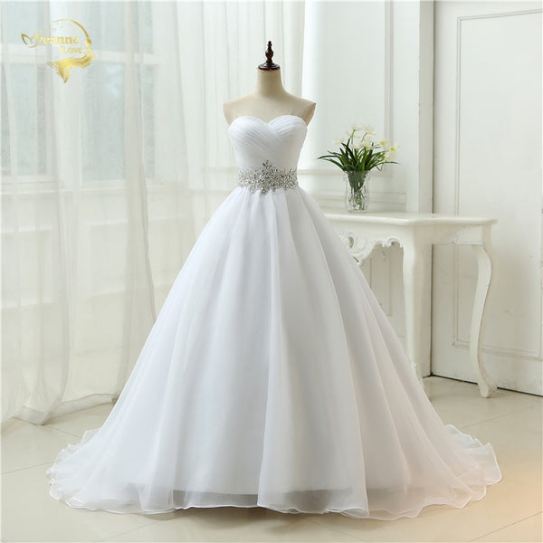 Design A line Perfect Belt Robe De Mariage Strapless Lace Up Wedding Dresses