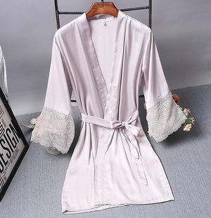 Bridesmaid Robes Satin Robe Bride Elegant Sleepwear Sexy Lace Women Dressing Gown Bathrobe Kimono Silk Bath Robe Sleep Lounge - Smoulder Products