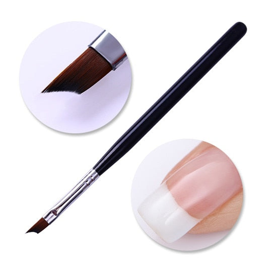 French Tip Nail Brush Silver Black Handle Half Moon Shape Acrylic Painting Drawing Pen  Nail Art Tool - Smoulder Products