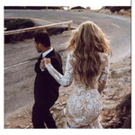 LORIE Boho Long Sleeve Wedding Dress 2019 Robe de mariee Vintage Champagne Satin New Bridal Dress White Tulle Wedding Dresses - Smoulder Products