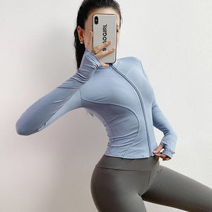 Autumn Sport Jacket Women Long Sleeve with Thumb Hole Yoga Shirt Zipper Design Fitness Sports Top Workout Running Gym Wear - Smoulder Products