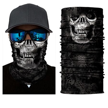 BJMOTO UV Protection Head Scarf Neck Motorcycle Cycling Ghost Skull Face Mask Ski Balaclava Headband Face Shield Bandana - Smoulder Products