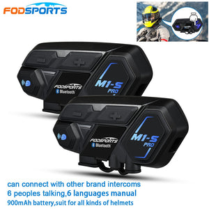 2pcs Fodsports M1-S Pro BT Motorcycle Headset Helmet Intercom 8 Riders 2000m Group Talk Moto Bluetooth waterproof Interphone - Smoulder Products