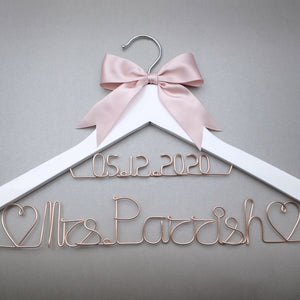 Custom Wedding Hanger Personalized Bridal Dress Hanger With Date, Custom Bridesmaid Groom Name Hanger Bridesmaid Gift - Smoulder Products