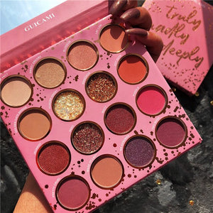 Guicami Brand Shimmer Matte Eyeshadow Makeup Palette 16Colors Holographic Nude Glow Pigment Eye Shadow Long Lasting Cosmetic Set - Smoulder Products