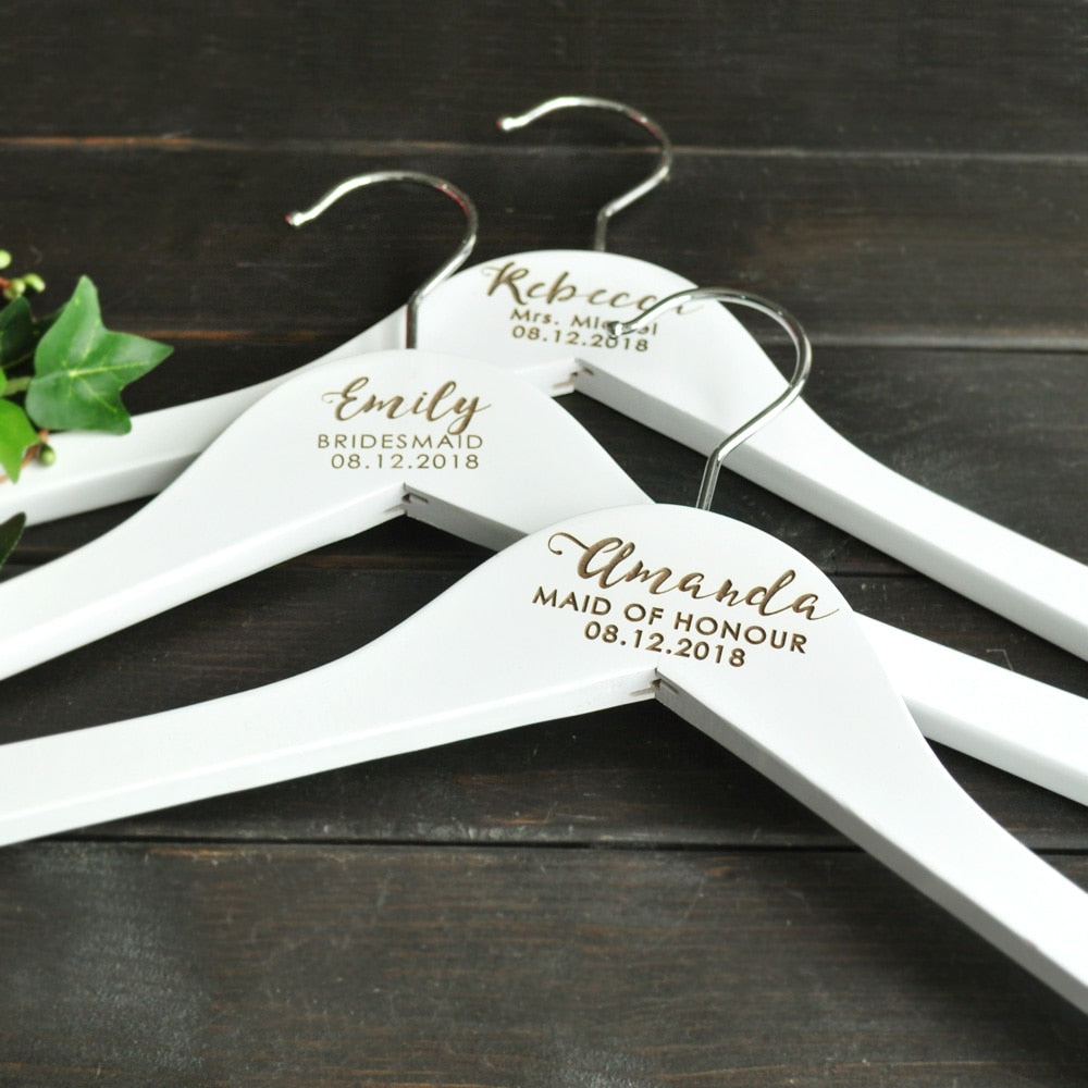 Personalized Wedding Hanger,Engraved Wedding Clothes Hanger, Dress Hanger,Name Bridal Party Gifts, Bridesmaid Hanger Laser Cut - Smoulder Products