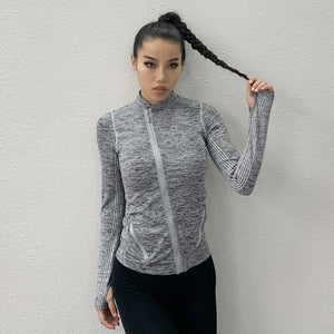 Wmuncc Seamless Sports Jacket Diagonal Zipper Design Long Sleeves with Thumb Hole Quick-drying Tops Yoga Running Fitness Shirt - Smoulder Products