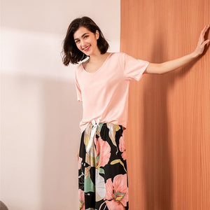 JULY'S SONG Floral Printed Pyjama Sleepwear Female Casual V Neck Short Sleeve Elastic Waist Nightwear Retro Women's Pajamas Sets - Smoulder Products