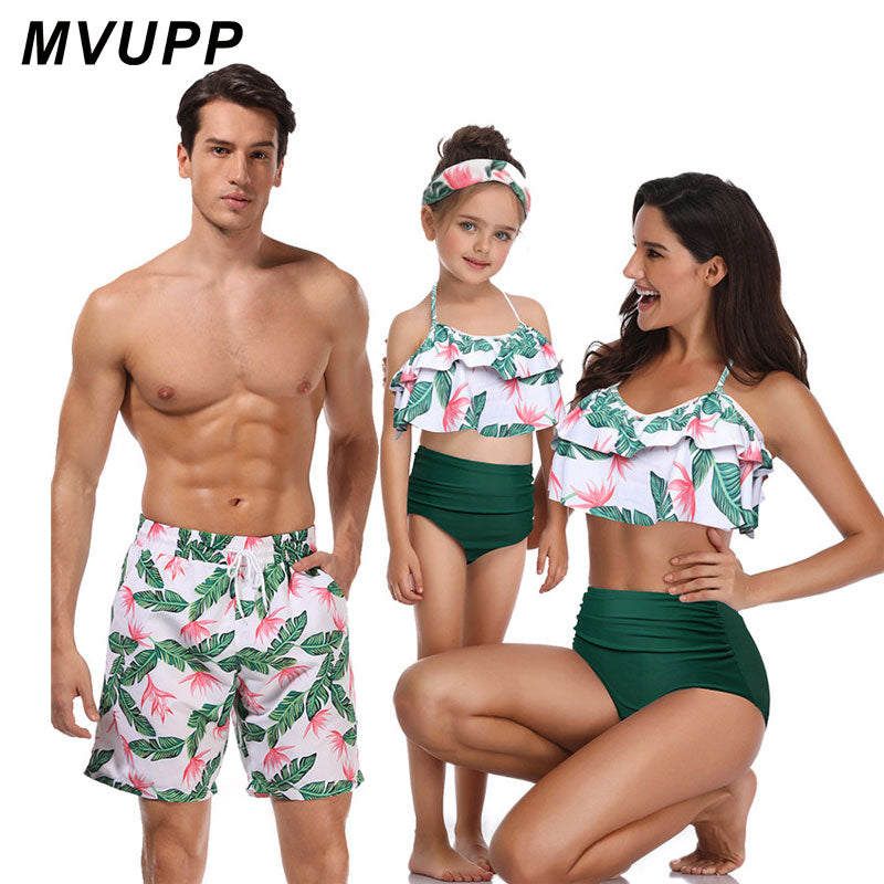 family matching swimwear beachwear mommy and me swimsuit mother daughter father son clothes dresses high waist bikini look mum - Smoulder Products
