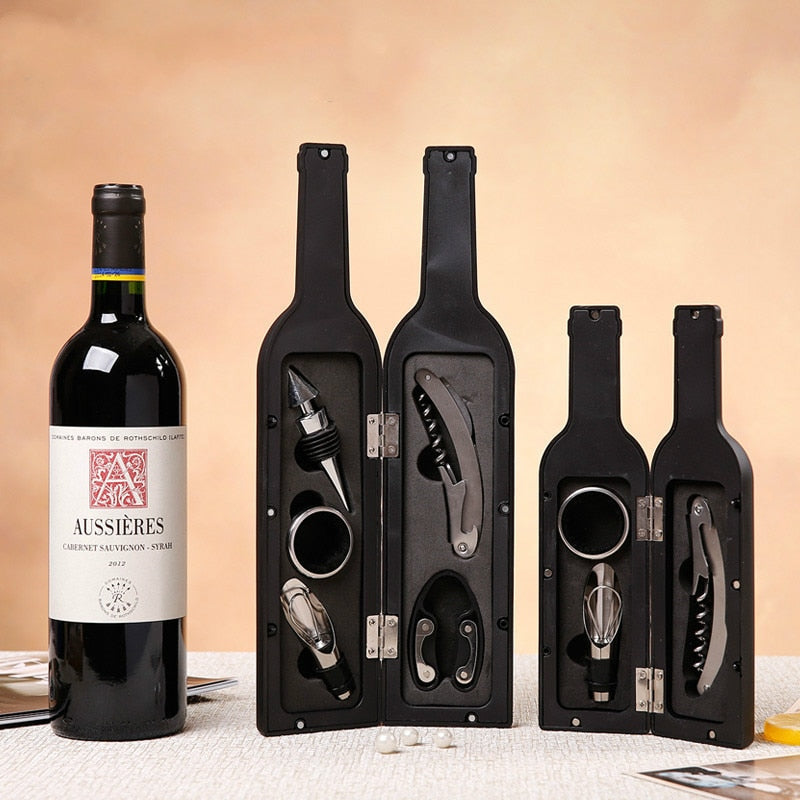 Deluxe Wine Opener Accessories Gift Tools Set  with Waiters Corkscrew Opener  5 Piece Wine Bottle Opening Kit  122801 - Smoulder Products
