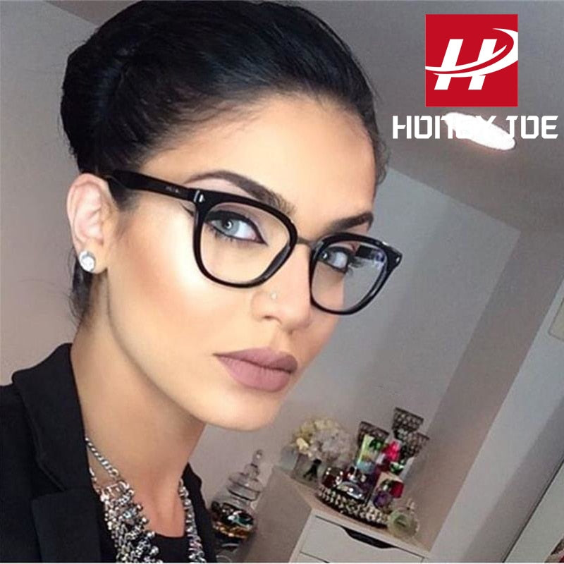 Womens Sexy Vintage UV400 Spectacle Square Glasses Frame Computer Gaming Clear Lens Anti-UV Anti Blue Light Rivet Eyeglasses - Smoulder Products