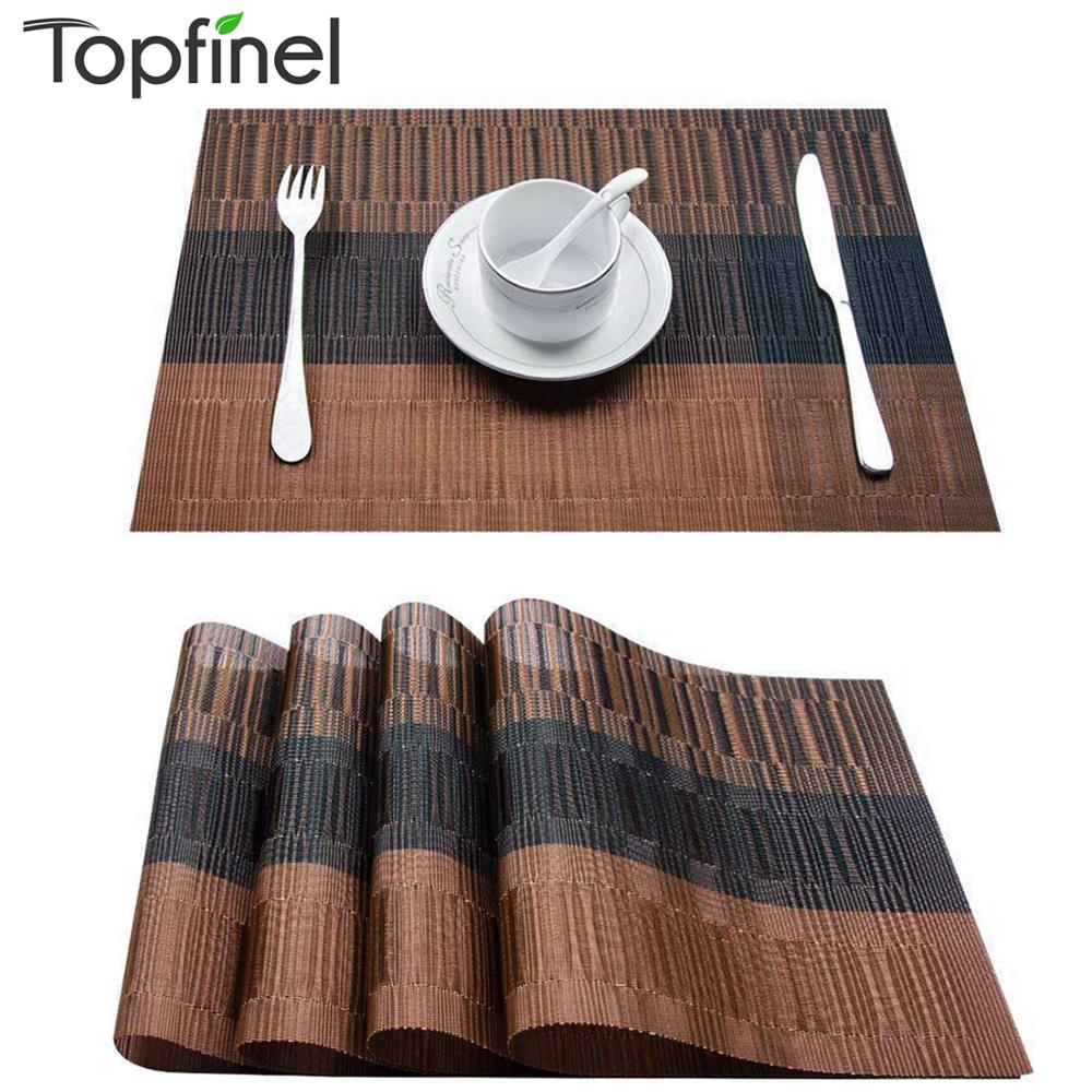 Topfinel Set of 4 PVC Bamboo Plastic Placemats for Dining Table Runner Linens Place Mat in Kitchen Accessories Cup Wine Mat - Smoulder Products