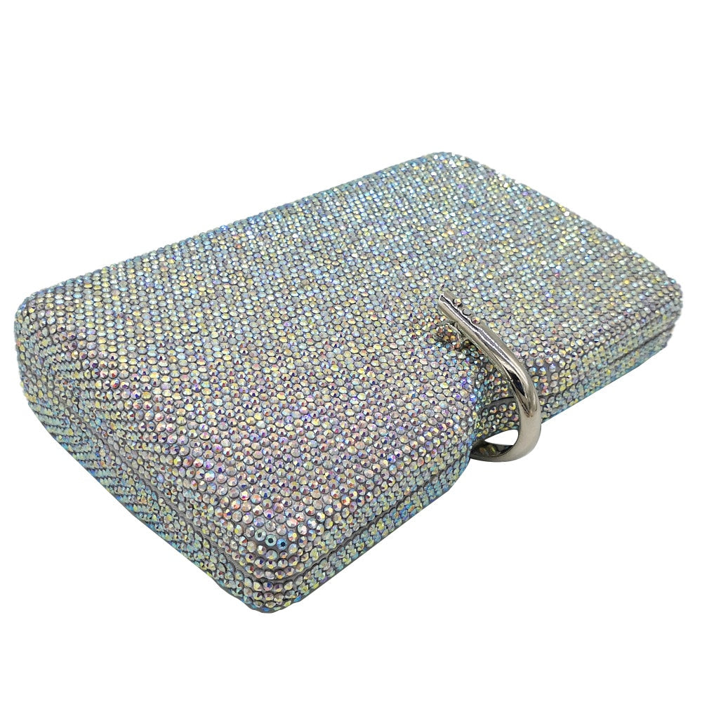 Boutique De FGG Dazzling Grey Women Crystal Evening Clutch Bags Wedding Party Handbag and Purse Bridal Diamond Clutch Minaudiere - Smoulder Products