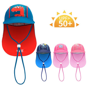 Summer Baby Sun Hat Children Outdoor Neck Ear Cover Anti UV Protection Beach Caps Kids Boy Girl Swimming Cap For 3-12 Years - Smoulder Products