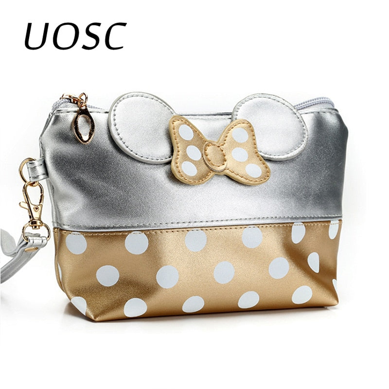 UOSC Cosmetic Bag Cartoon Bow Makeup Case Women Zipper Hand Holding Make Up Handbag Organizer Storage Pouch Toiletry Wash Bags - Smoulder Products