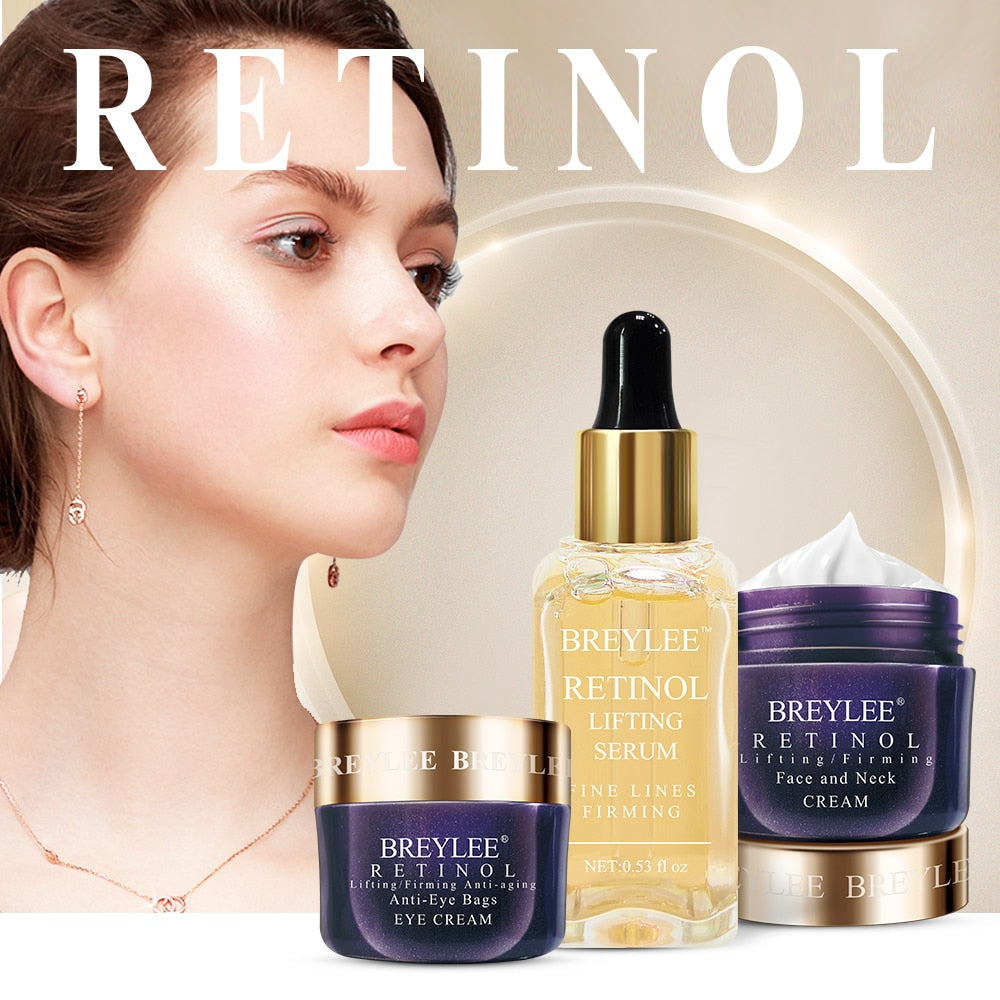 Breylee Retinol Skin Care Set Anti Aging Firming Facial Serum Face Cream Eye Cream Remove Fine Line Wrinkle Tighten Moisturizing - Smoulder Products