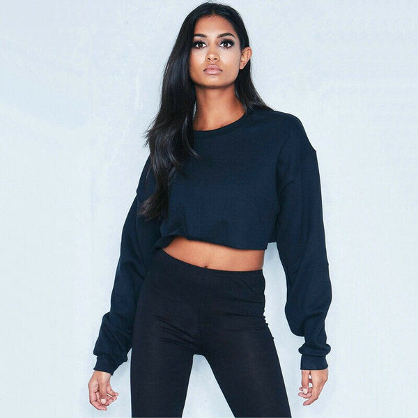 Long Sleeve Short Hoodie Solid Color Cropped Sweatshirt Pullover Coat Crop Tops Sudadera Streetwear