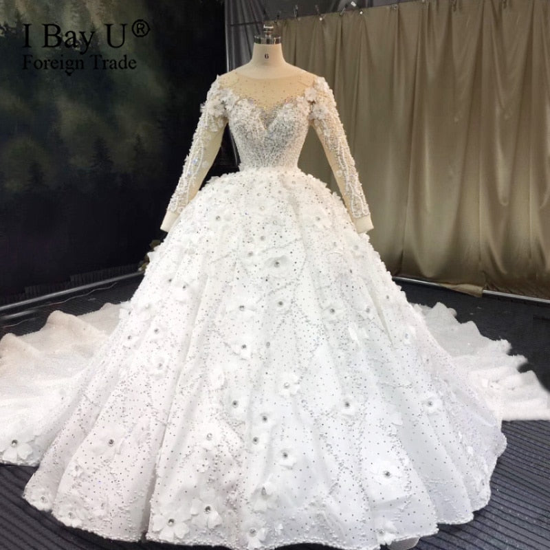 3D Flower Pearl Luxury Wedding Dress 2020 Custom Made Wedding Dress 2020 Beaded Lace Bridal Dress robe de mariée de luxe - Smoulder Products